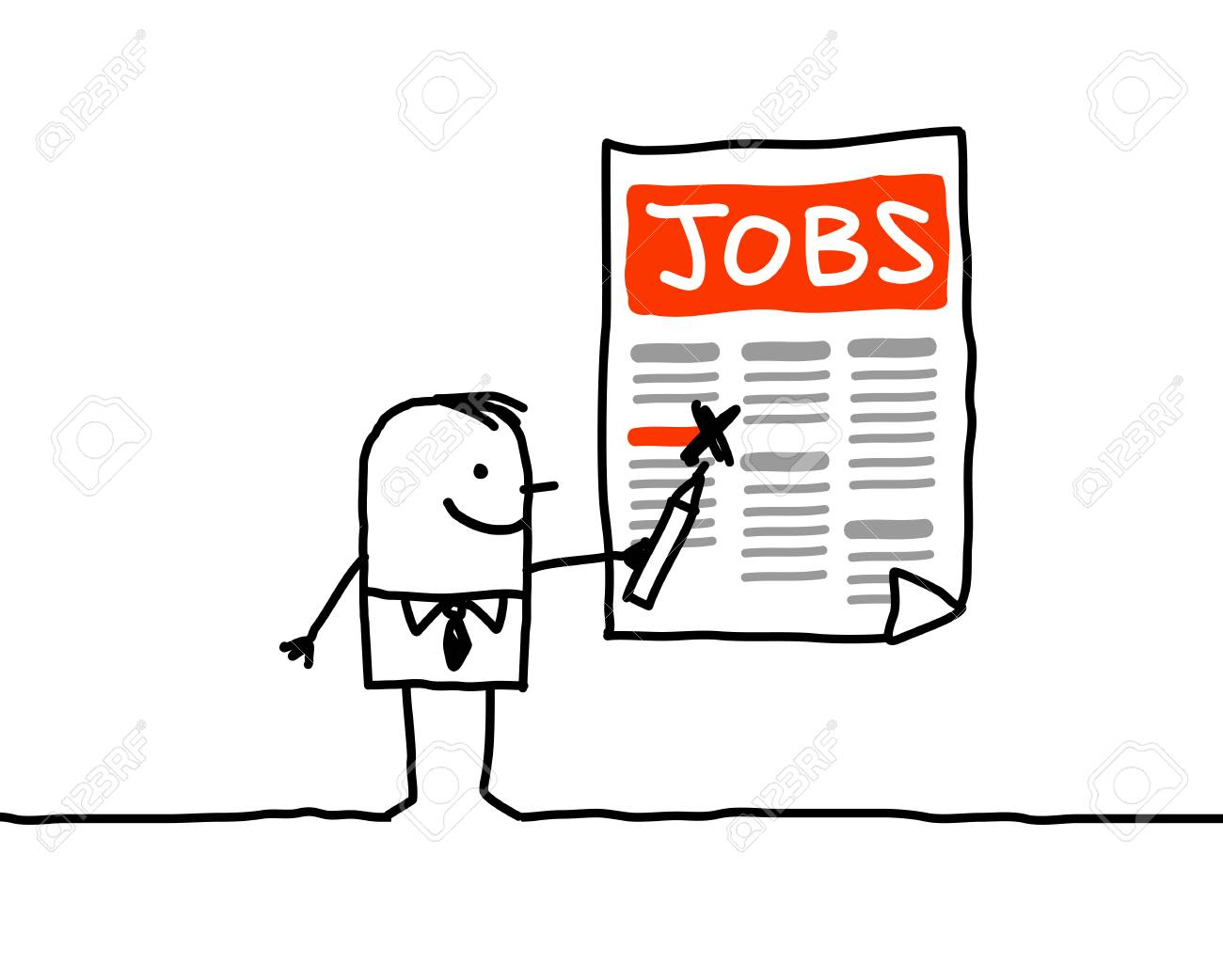 Cartoon Characters Man Looking For A Job Stock Photo Picture And