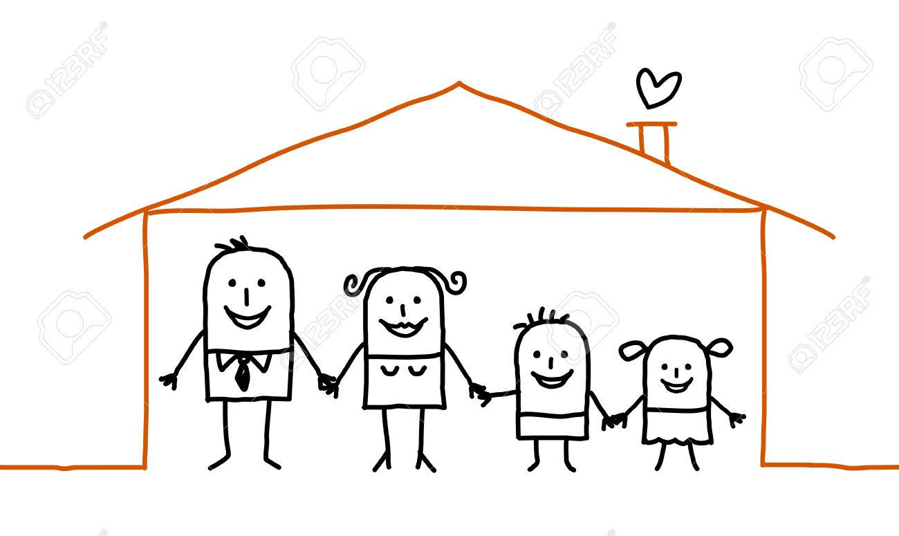 Famille De Dessin Anime A La Maison Banque D Images Et Photos Libres De Droits Image 74760162