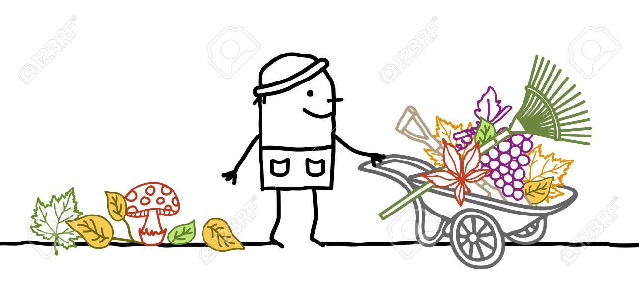 Cartoon Fall Gardener with Wheelbarrow, Leaves and Tools - 106286421