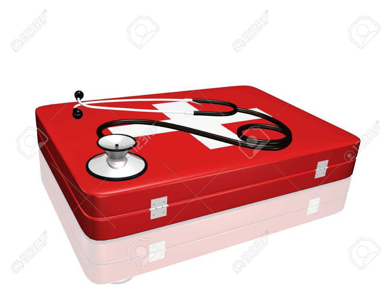 A 3D stethoscope on top of a medical kit. Stock Photo - 6851973