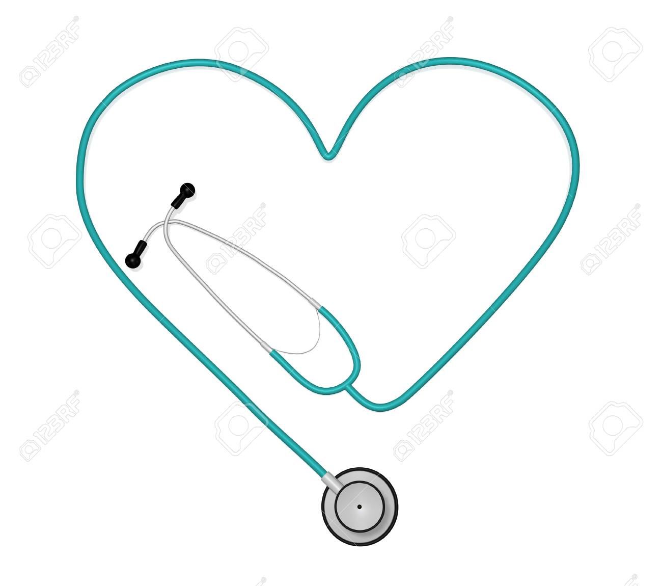 Image of a stethoscope in the shape of a heart isolated on a white background. Stock Photo - 7141551
