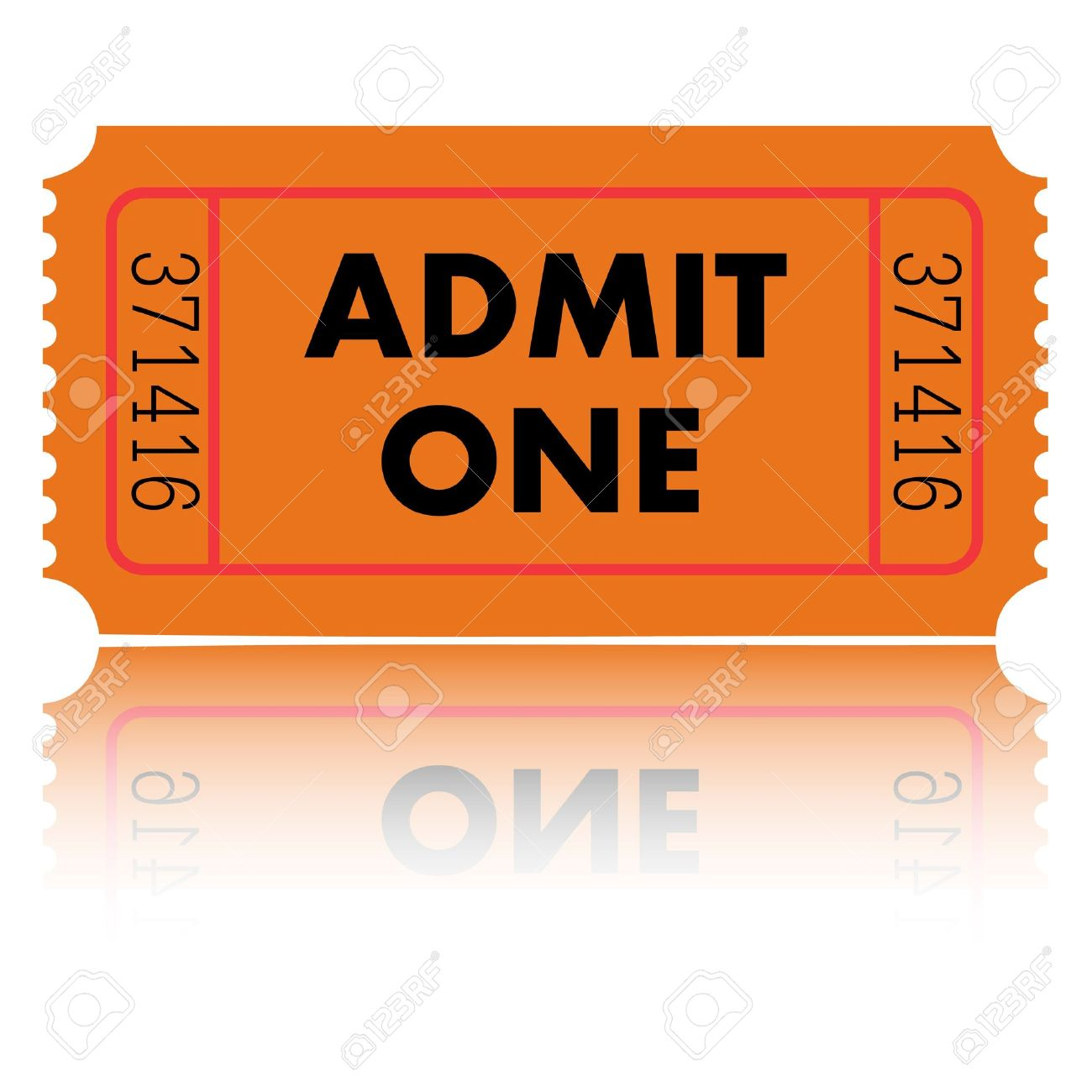 orange admit one ticket stock photo picture and royalty free image