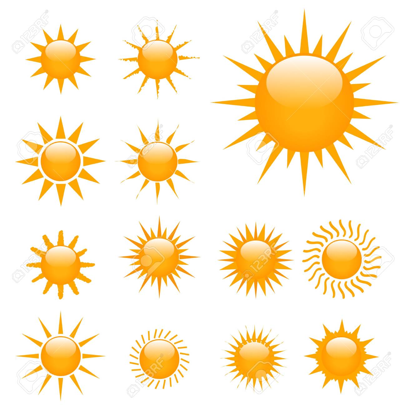 Illustration of multiple suns on a white background Stock Illustration - 7141615