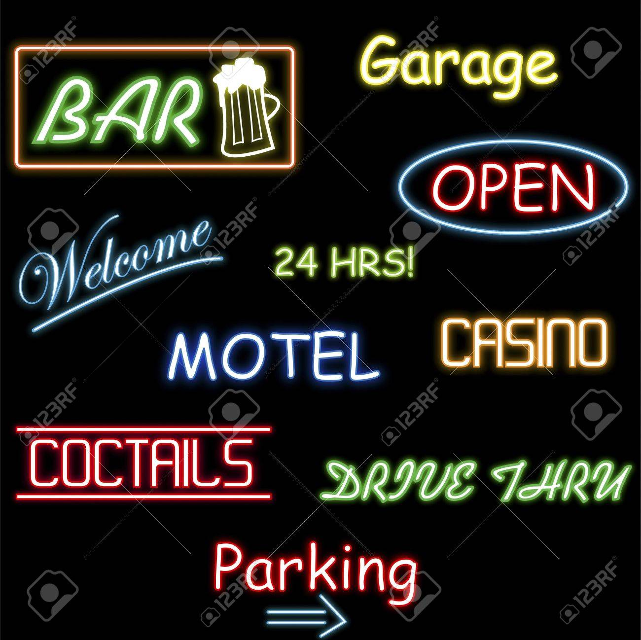 Image of various colorful neon signs isolated on a black background. Stock Photo - 7453096