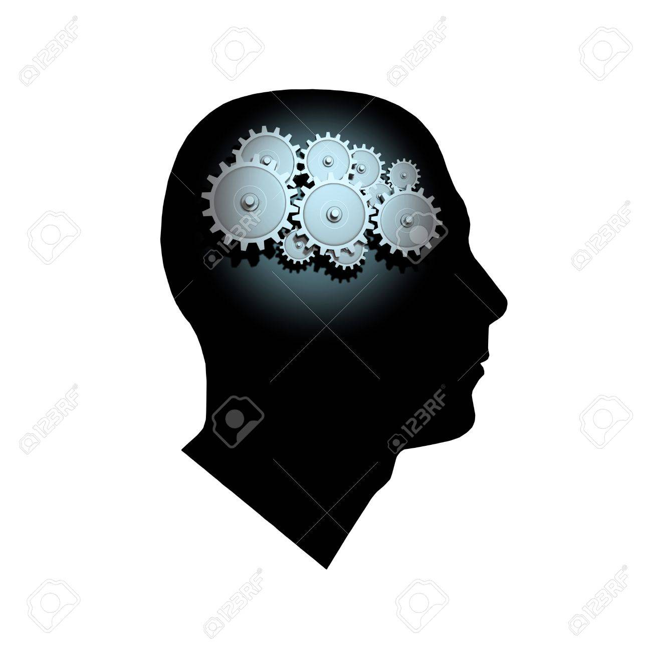3D Gears inside the profile of a man's head. Stock Photo - 8519860
