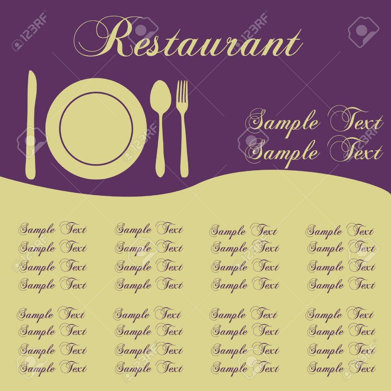 Image of a colorful purple sample restaurant menu with editable text. Stock Photo - 8519867