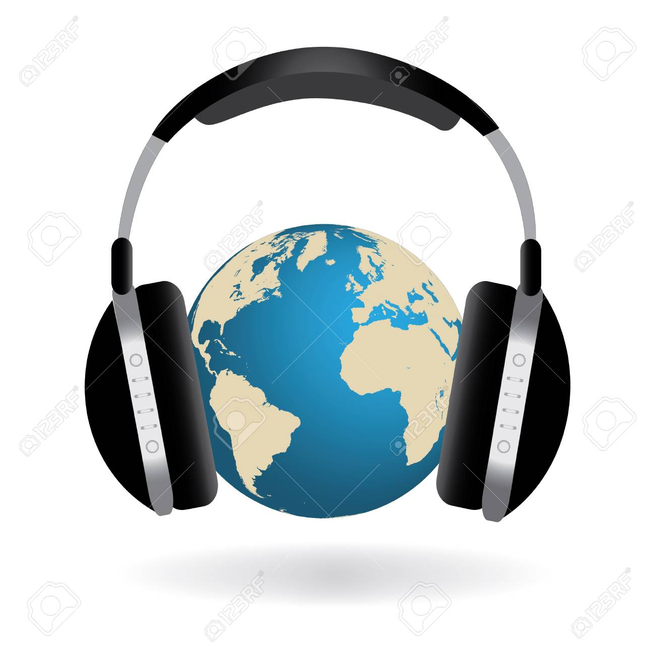 Concept image of the earth with headphones isolated on a white background. Stock Photo - 8855989