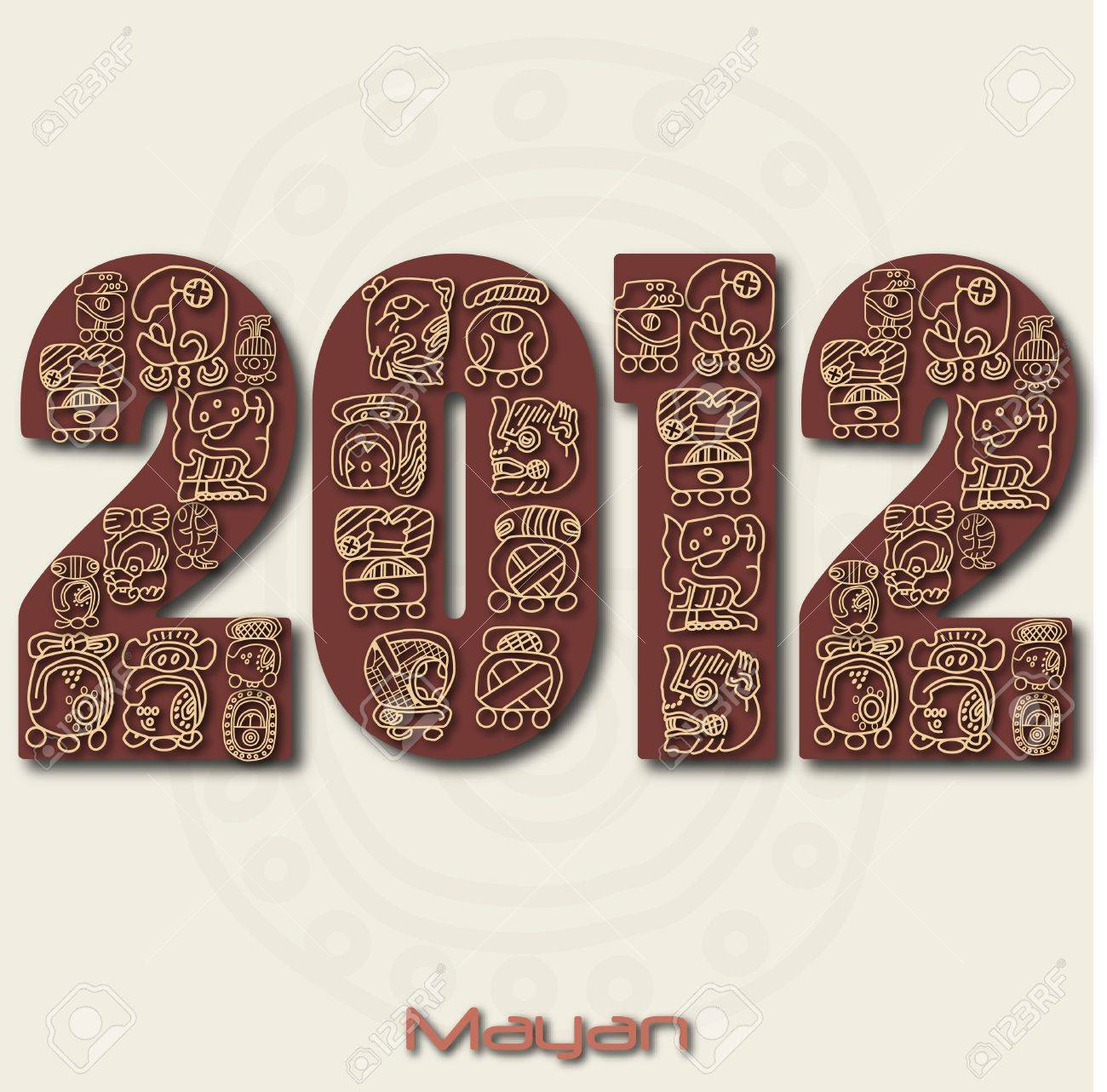 Image of the year 2012 with Mayan ruins isolated on a white background. Stock Photo - 8856055