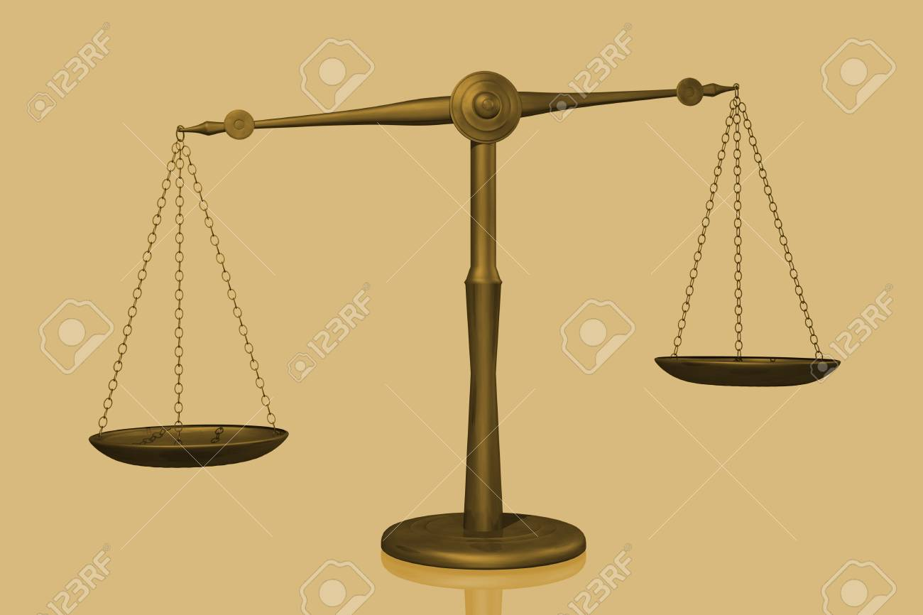 Concept image of a balance shown with a scale isolated on a white background. Stock Photo - 8856002