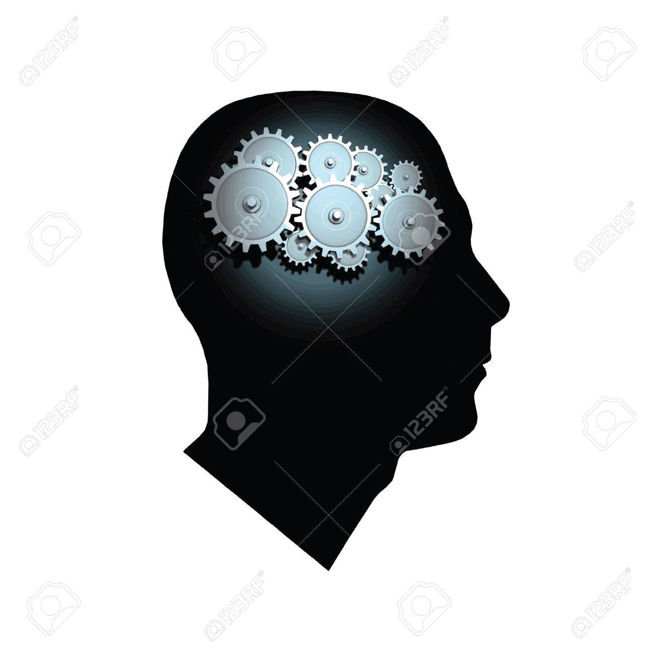 Image of gears inside of a man's head isolated on a white background. Stock Vector - 9329572