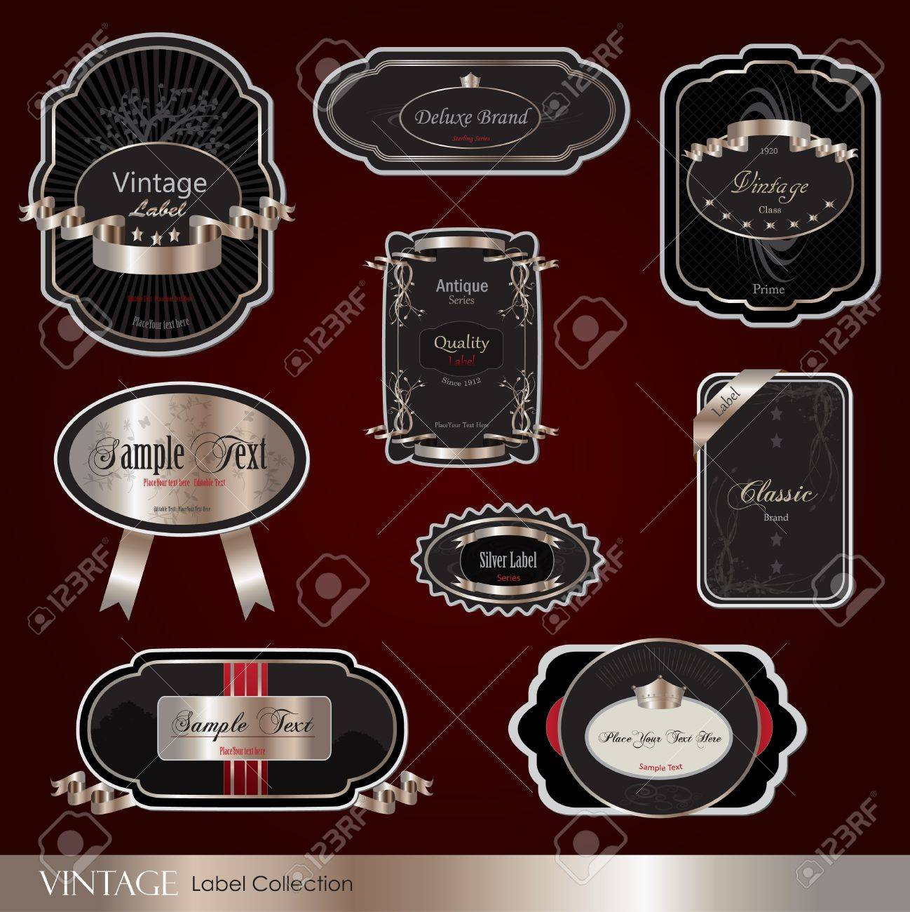 Image of various colorful vintage labels on a maroon background. - 9454903