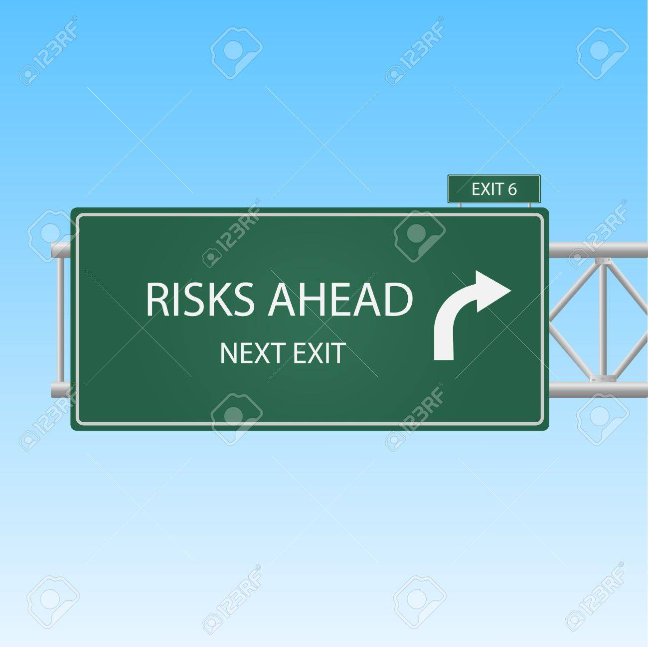 Image of a Risks Ahead highway sky against a blue sky background. - 9555641