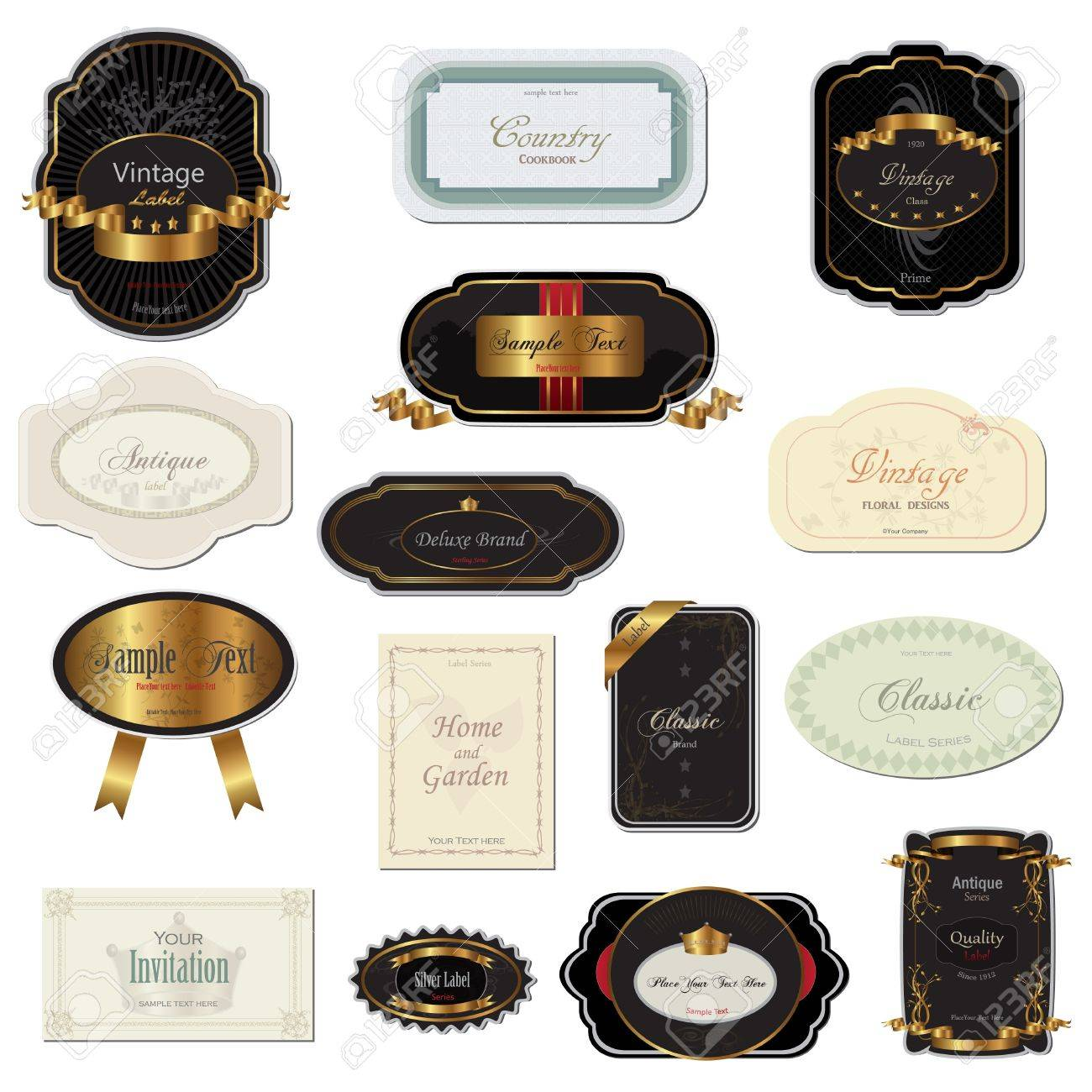 Image of various vintage labels isolated on a white background. - 9555654