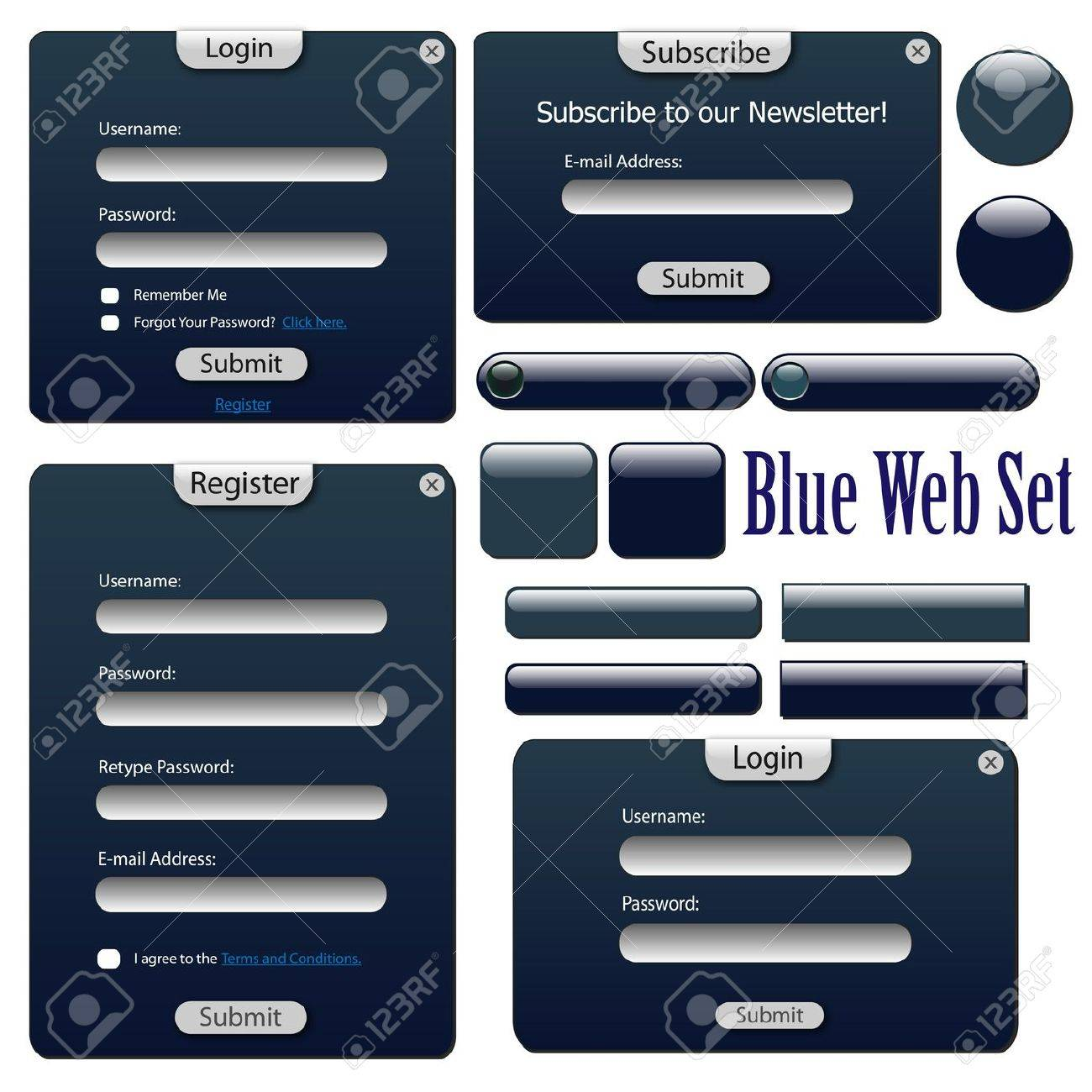 Image of a blue web forms, bars and buttons isolated on a white background. Stock Vector - 9555645