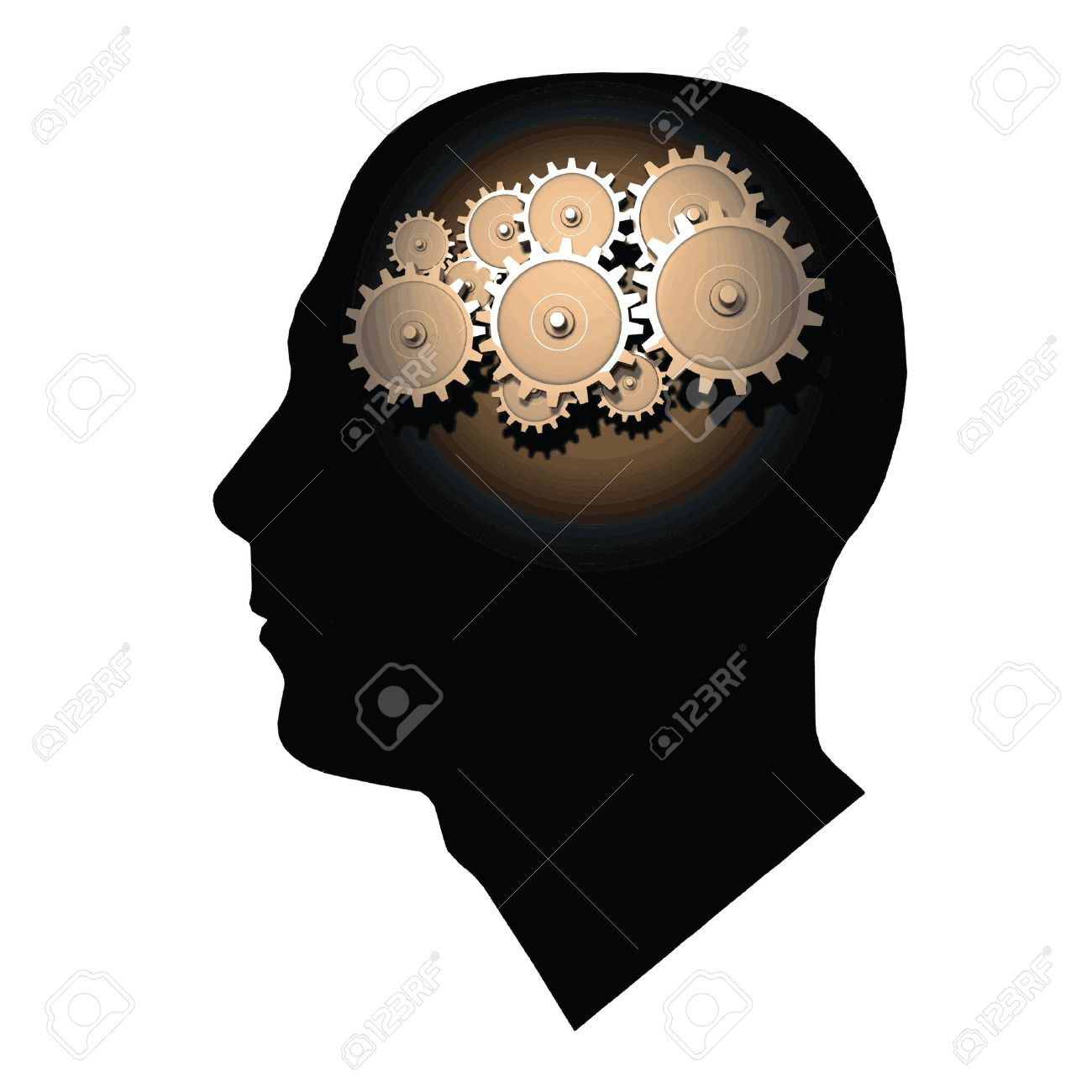 Image of gears inside of a man's head isolated on a white background. - 9717572