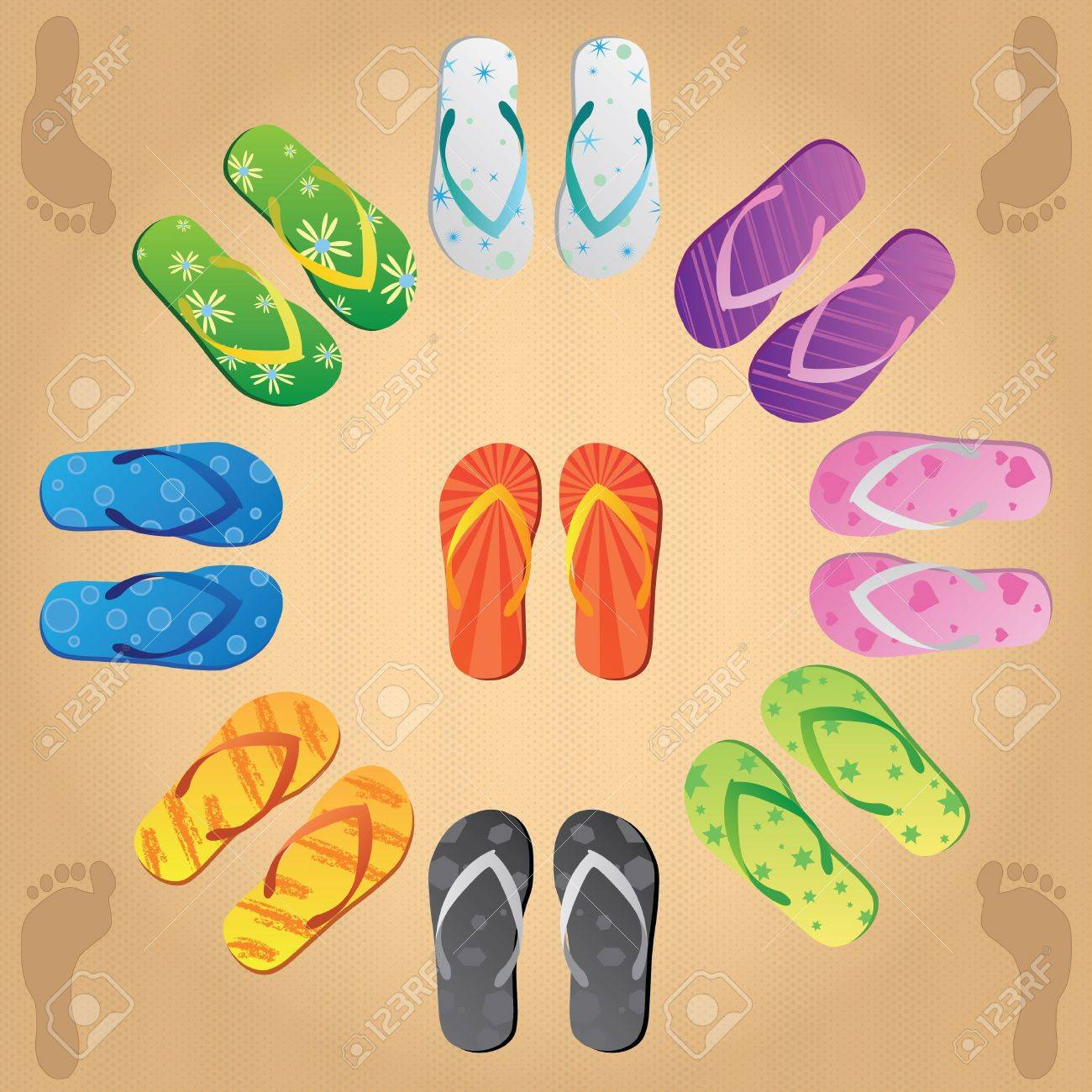 Image of various colorful flip flops on a sandy background. - 9717568