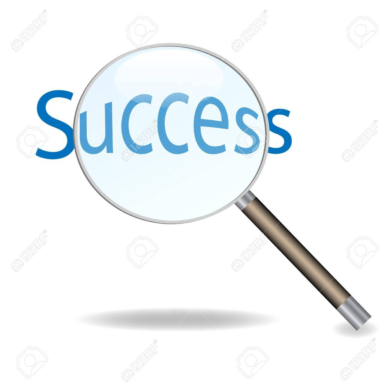 Image of a magnifying glass isolated on a white background focusing on the word Success. - 9717557