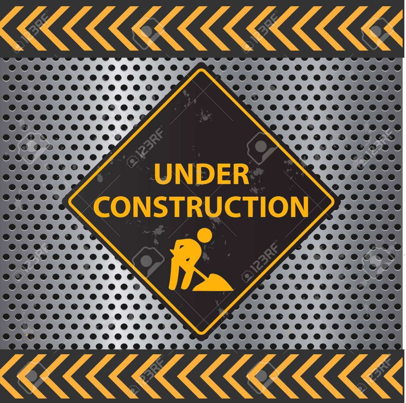 Image of a Under Construction sign with a metallic background texture. Stock Vector - 9717565