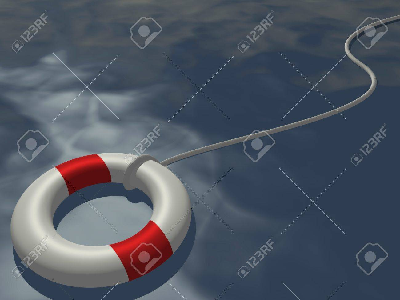 Image of a life preserver floating on a blue ocean. - 10470594