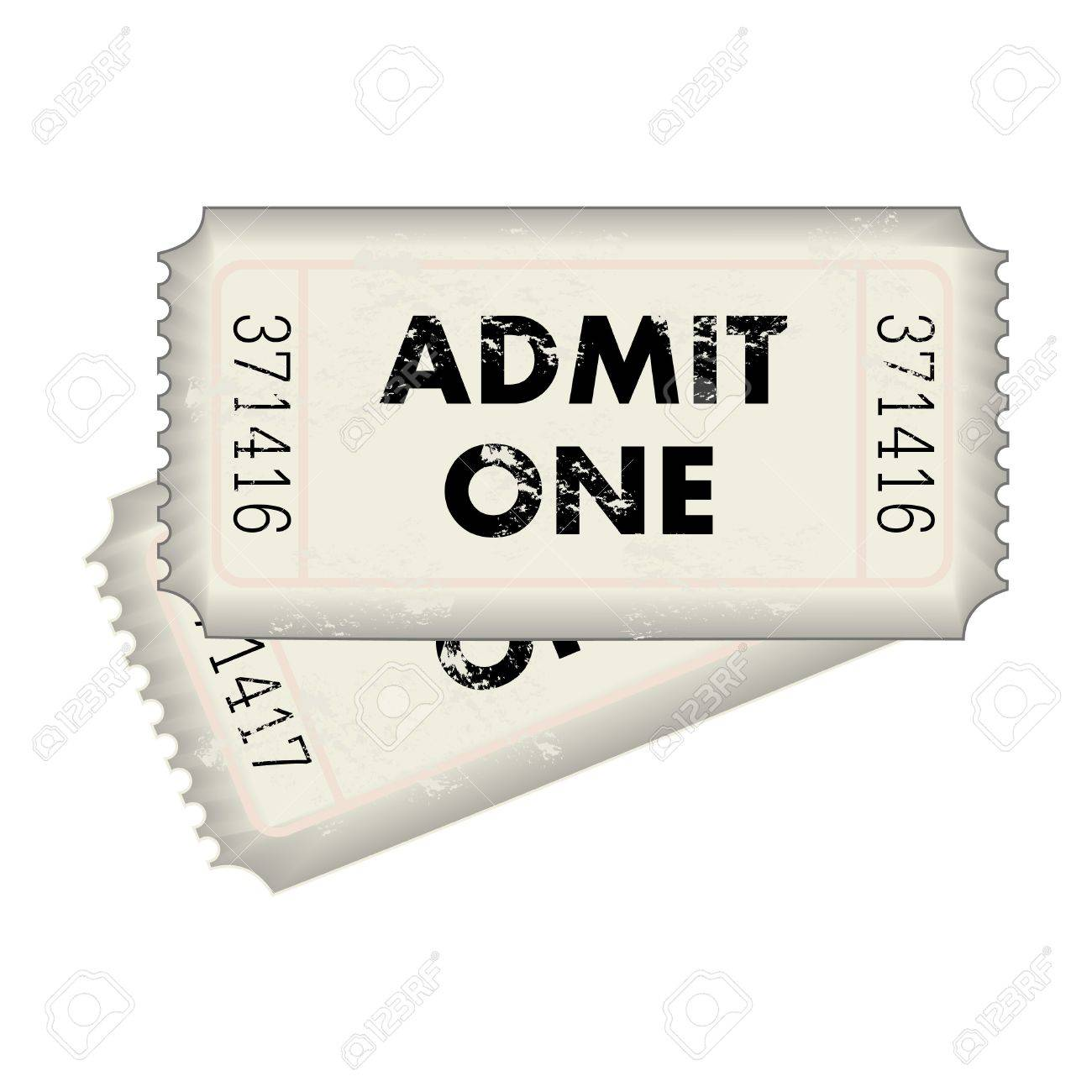 Image of a gray Admit One ticket isolated on a white background. - 12890725