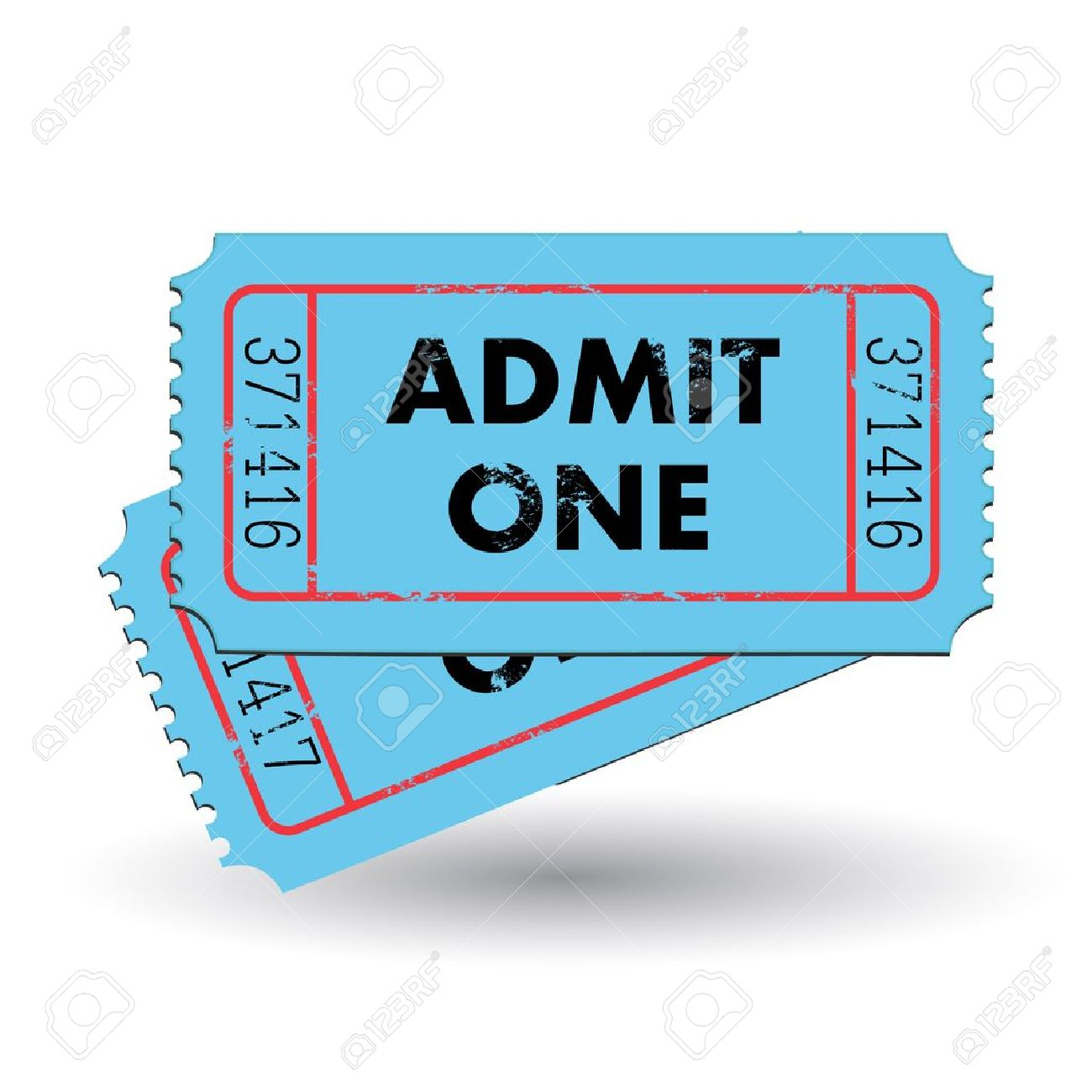Image of a colorful, vintage admit one ticket isolated on a white background - 12890723