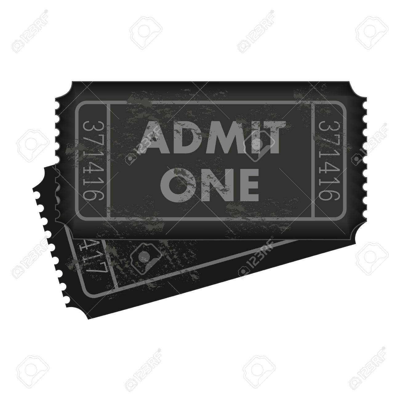 Image of dark gray admission tickets isolated on a white background. - 14921124