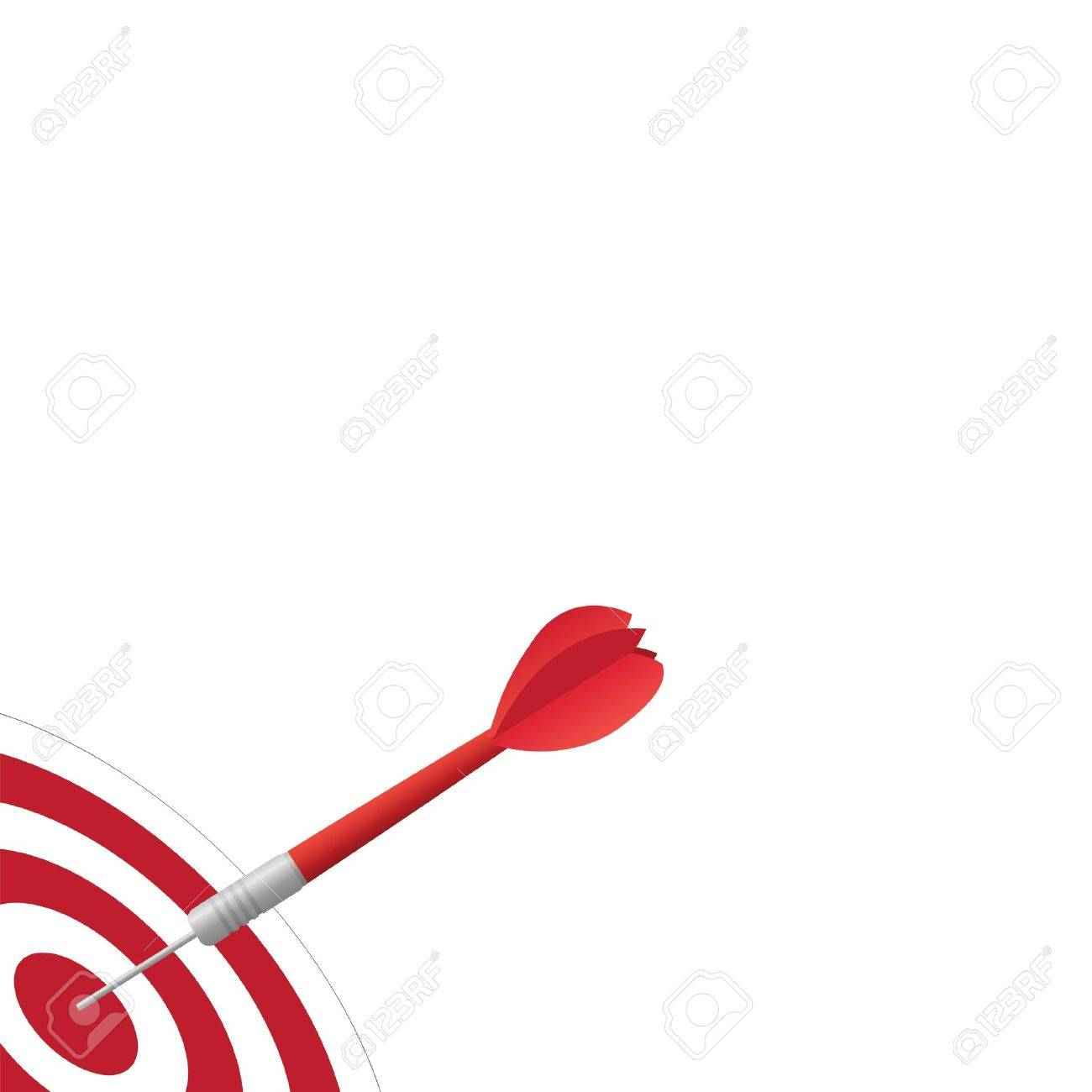 Image of a dart hitting a target isolated on a white background. Stock Vector - 14921011