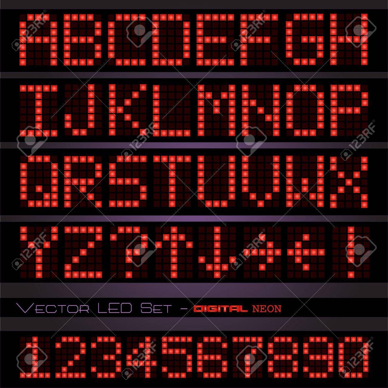 Image of a colorful red digital font set against a dark background. - 14921068