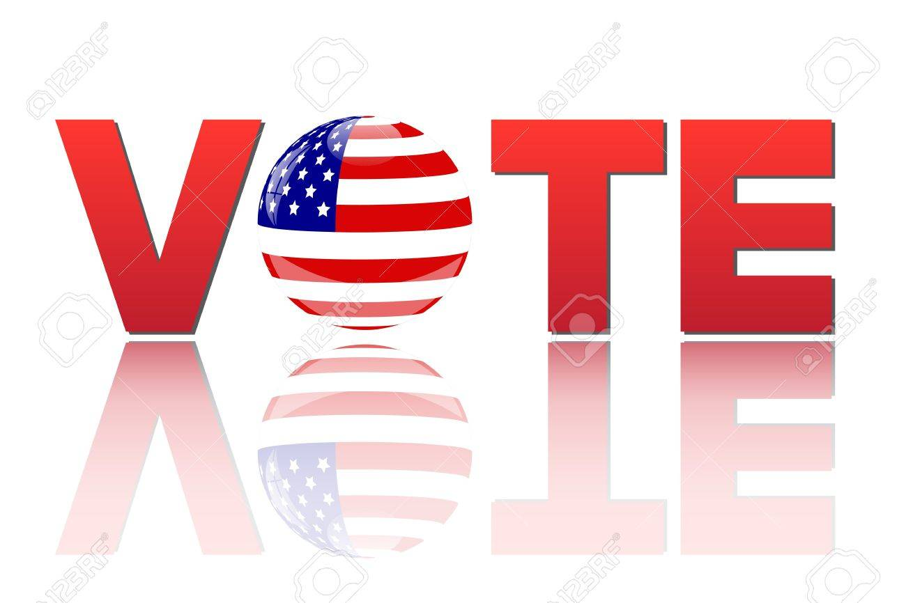 Image of the word vote with the flag of the United States of America isolated on a white background - 14921097