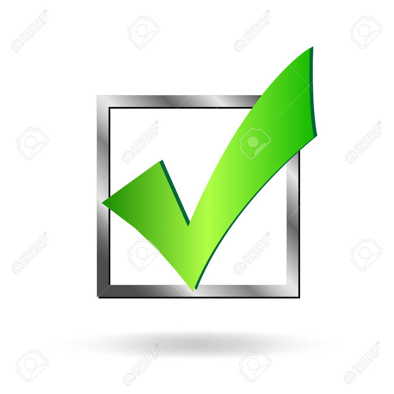 Image of a box being checked by a green check mark isolated on a white background. - 25831117