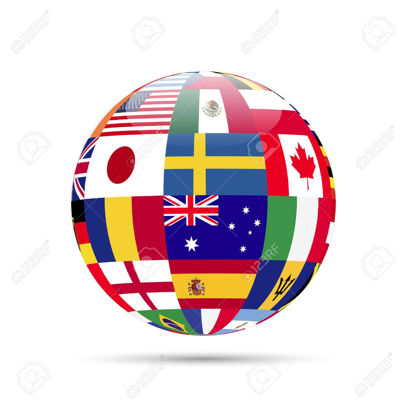 Illustration of a sphere with flags isolated on a white background. - 27194892