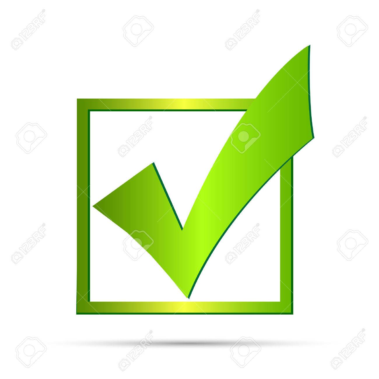 Illustration of a green check mark isolated on a white background. - 27195098