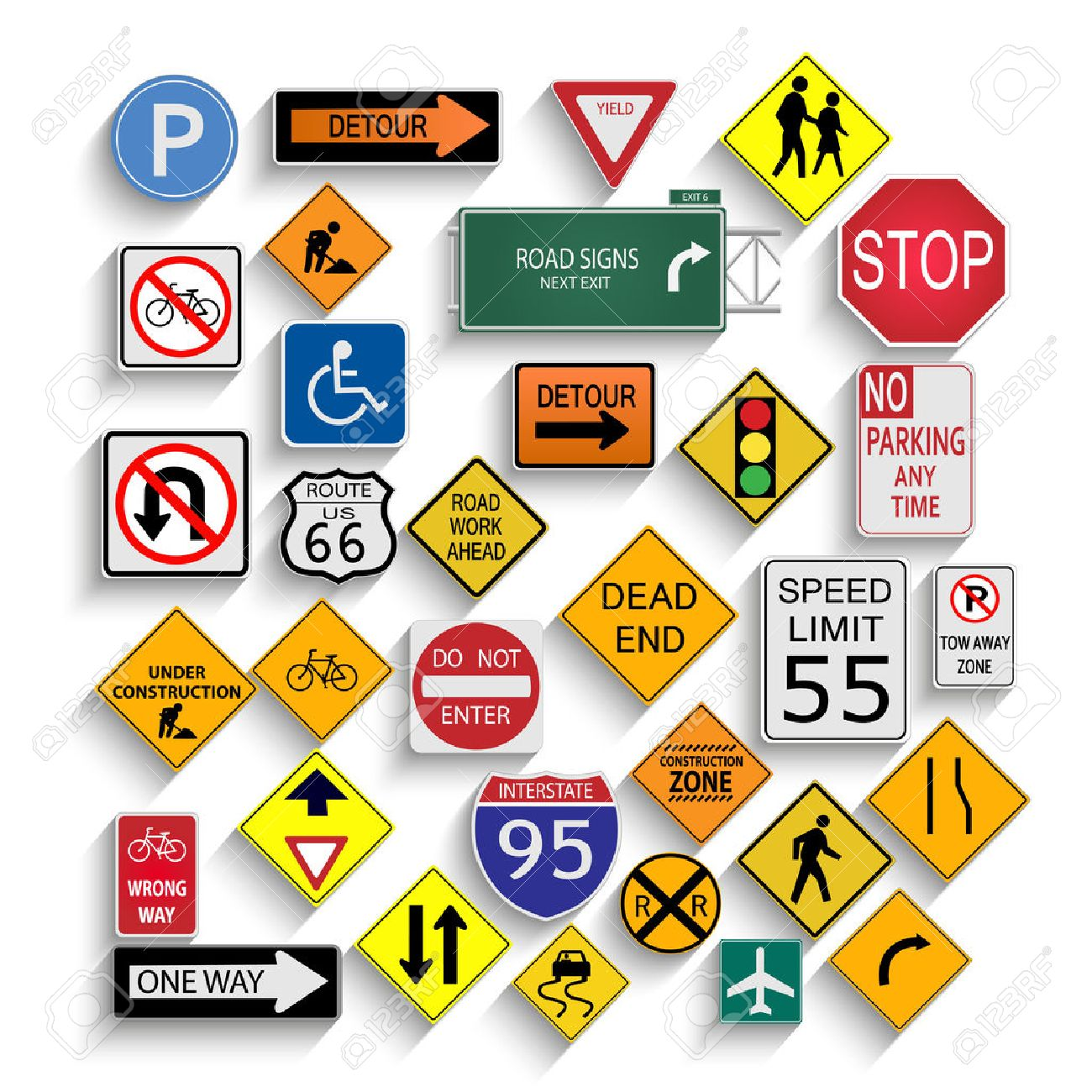 Illustration of various road signs isolated on a white background. - 27195376