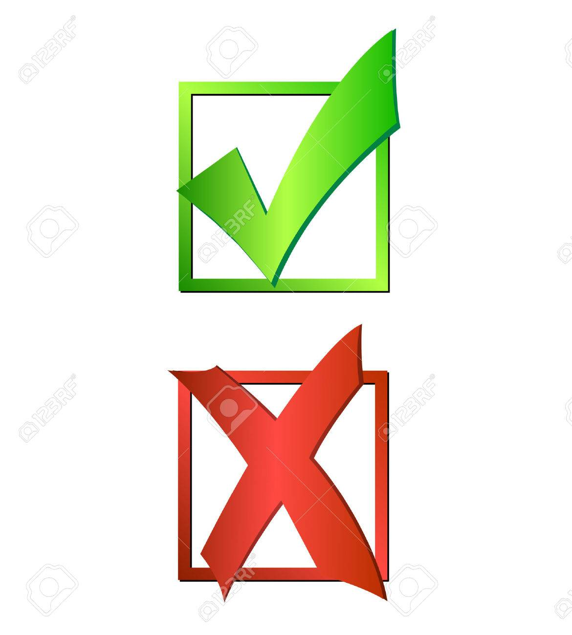 Illustration of a green checkmark and red X isolated on a white background. - 29339970