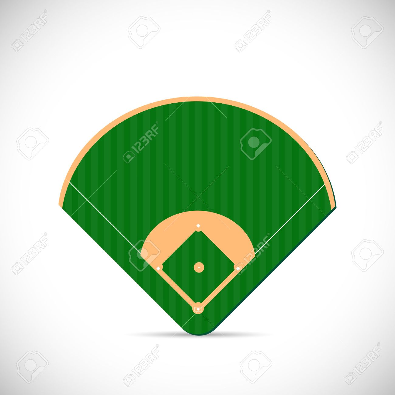Illustration of a baseball field design isolated on a white background. - 34766488