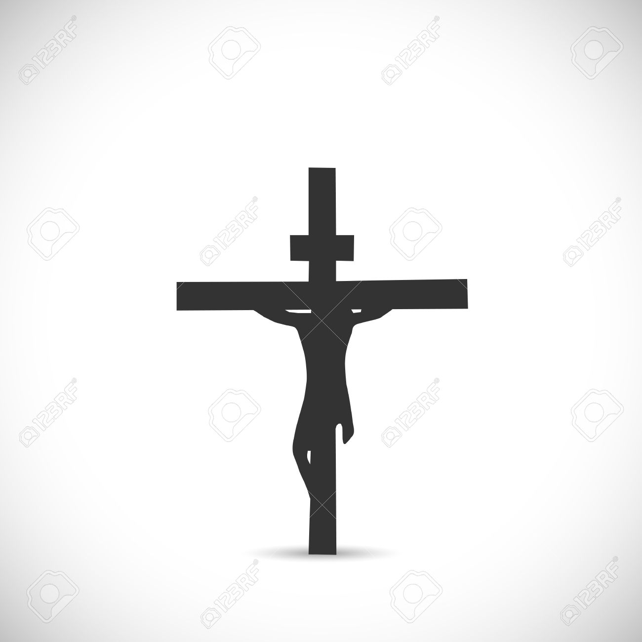 Silhouette illustration of Jesus on a cross isolated on a white background. - 34767829