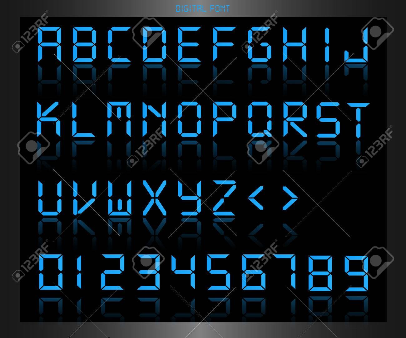 Illustration of a colorful blue digital font. - 34773186