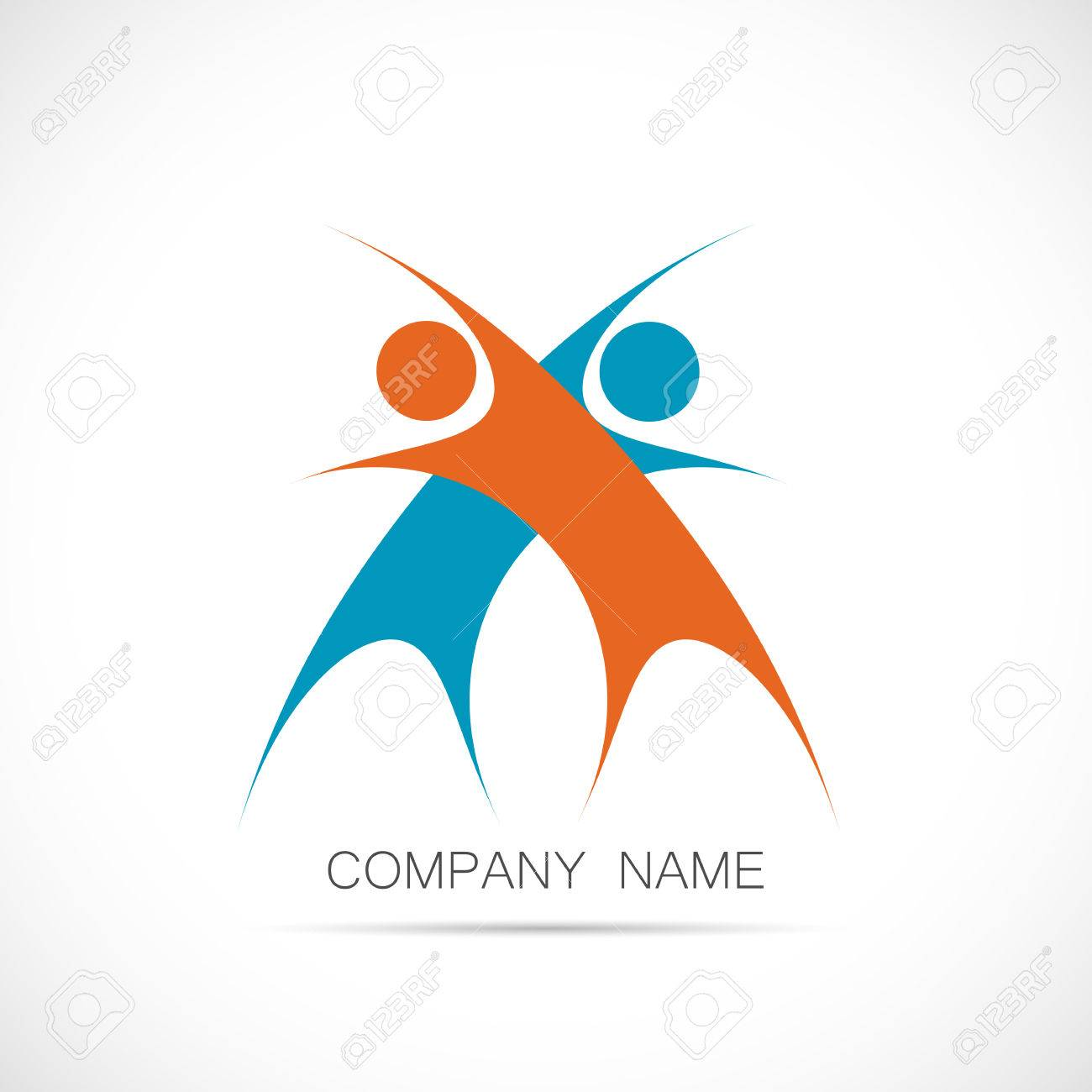Illustration of a logo design of two abstract figures isolated on a white background. - 34773384