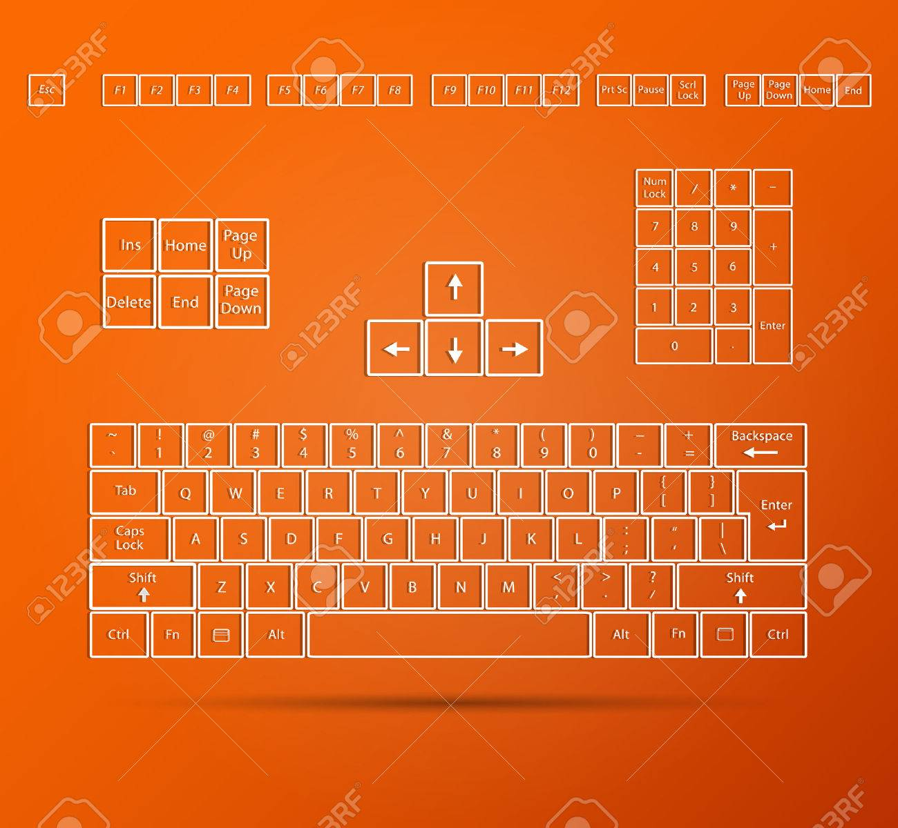 Illustration of an abstract keyboard on a colorful orange background. - 34773922