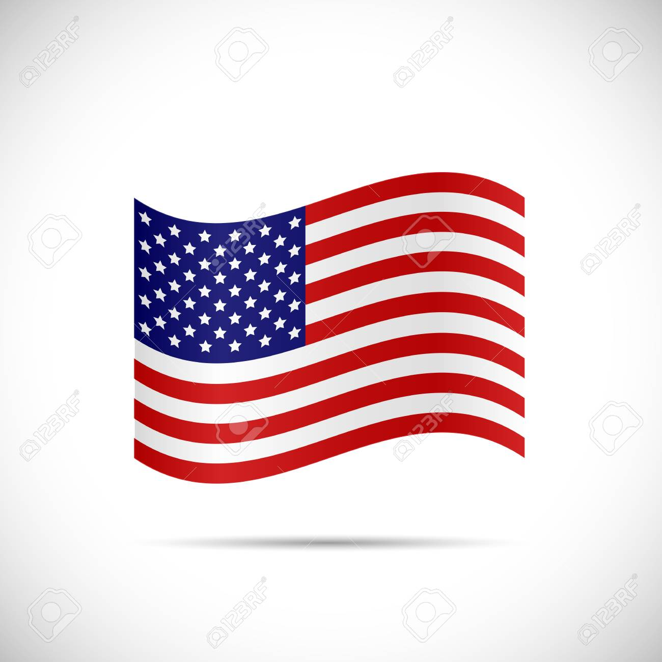 Illustration of the flag of United States of America isolated on a white background. - 34774743