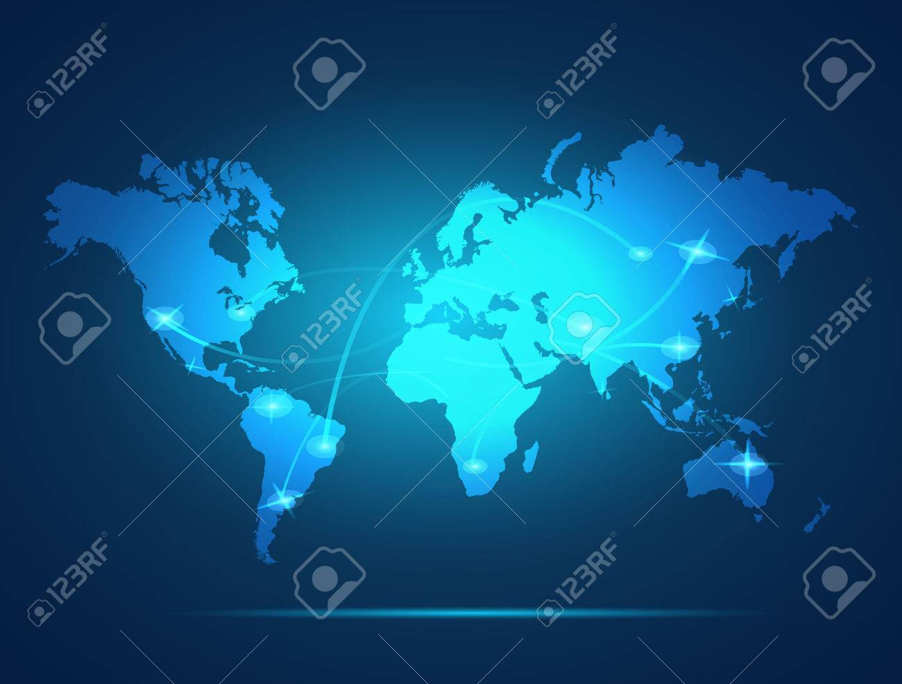 Illustration of a colorful glowing world map background. - 34780782