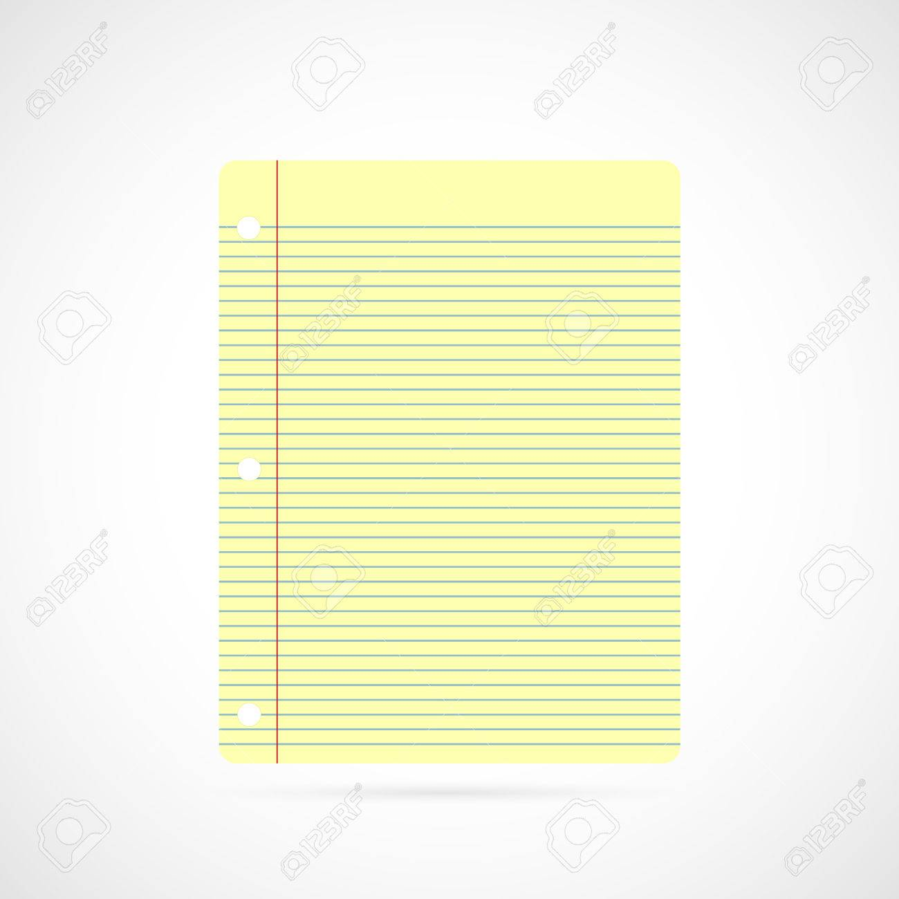 Illustration Of Colorful Yellow Notebook Paper Isolated On A