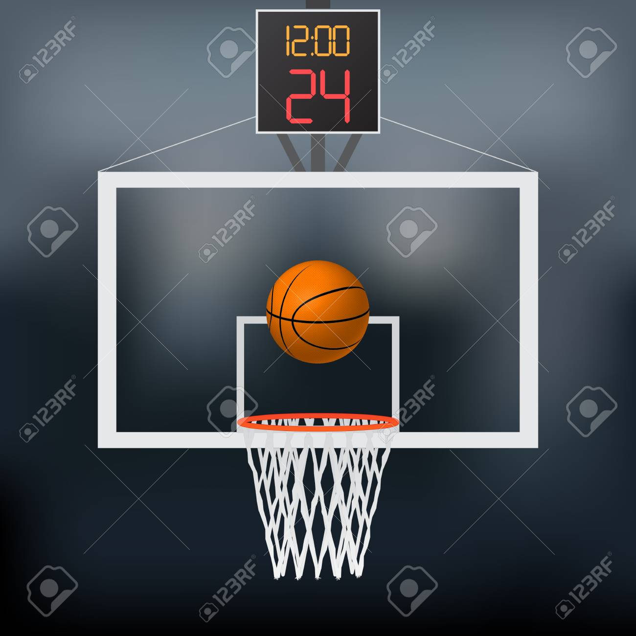 Illustration of a basketball hoop, basketball and backboard isolated on a white background. - 97101983