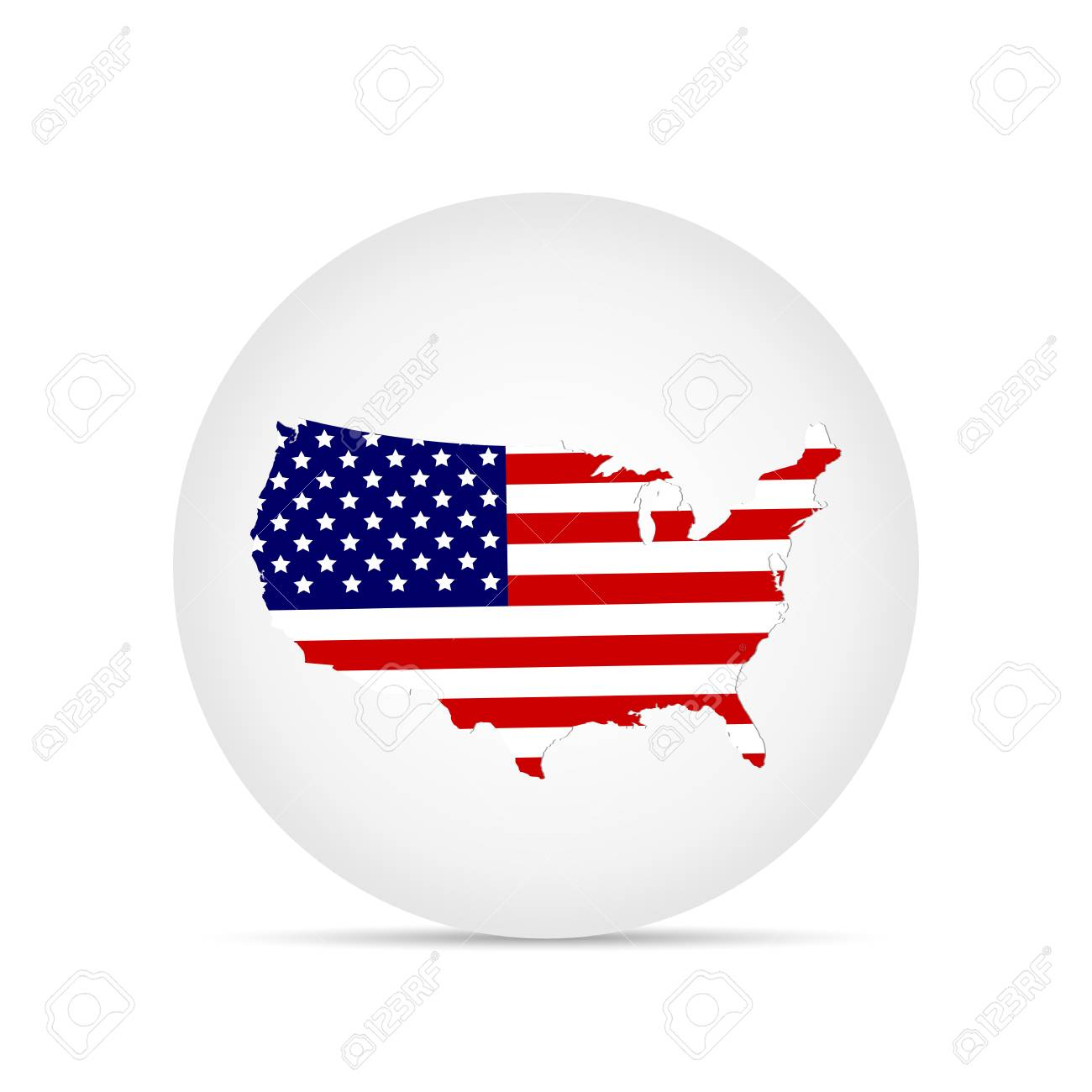 Illustration of the flag of the United States of America on a button. - 97101989
