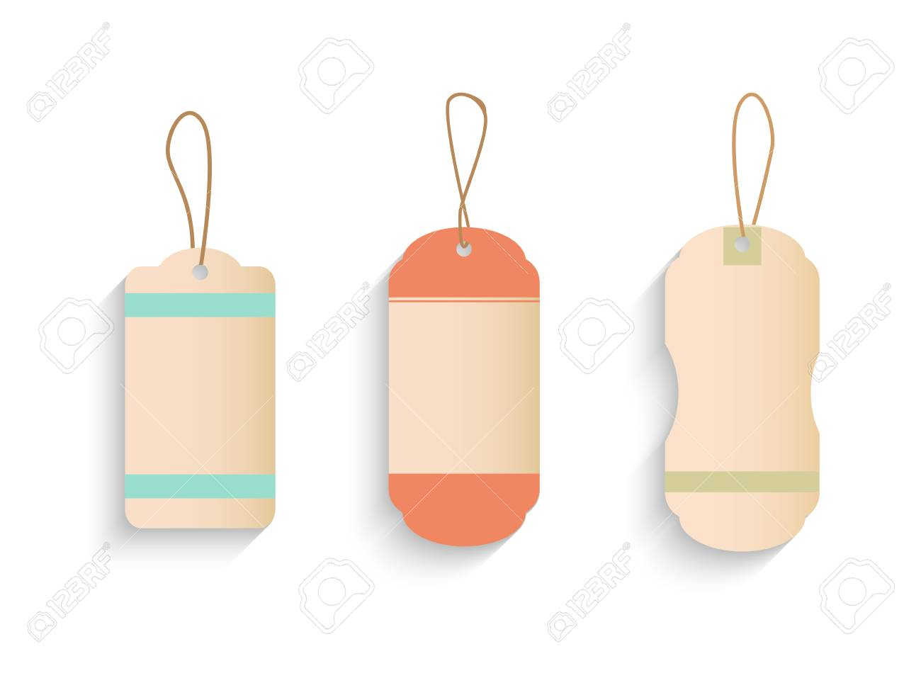 Illustration of various vintage tags isolated on a white background. - 97016065