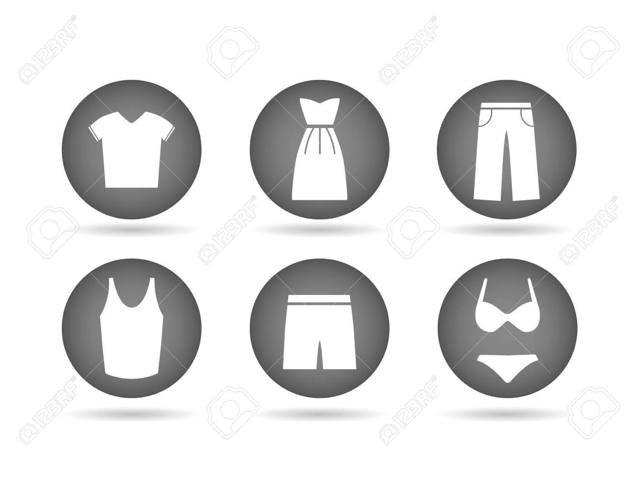 Illustration of clothing icon buttons isolated on a white background. - 97016081
