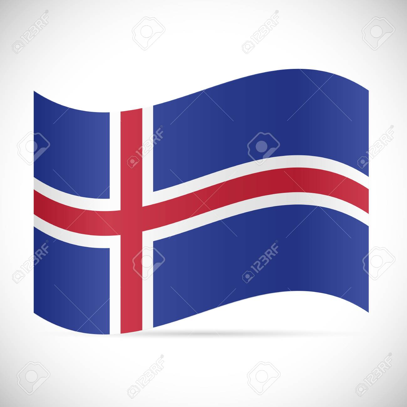 Illustration of the flag of Iceland isolated on a white background. - 97016087
