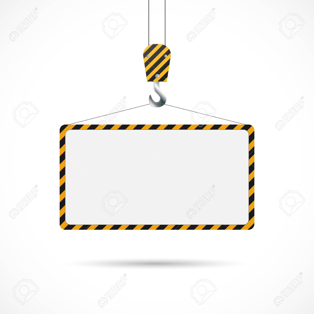 Illustration of a construction road sign and hook isolated on a white background. - 97101985