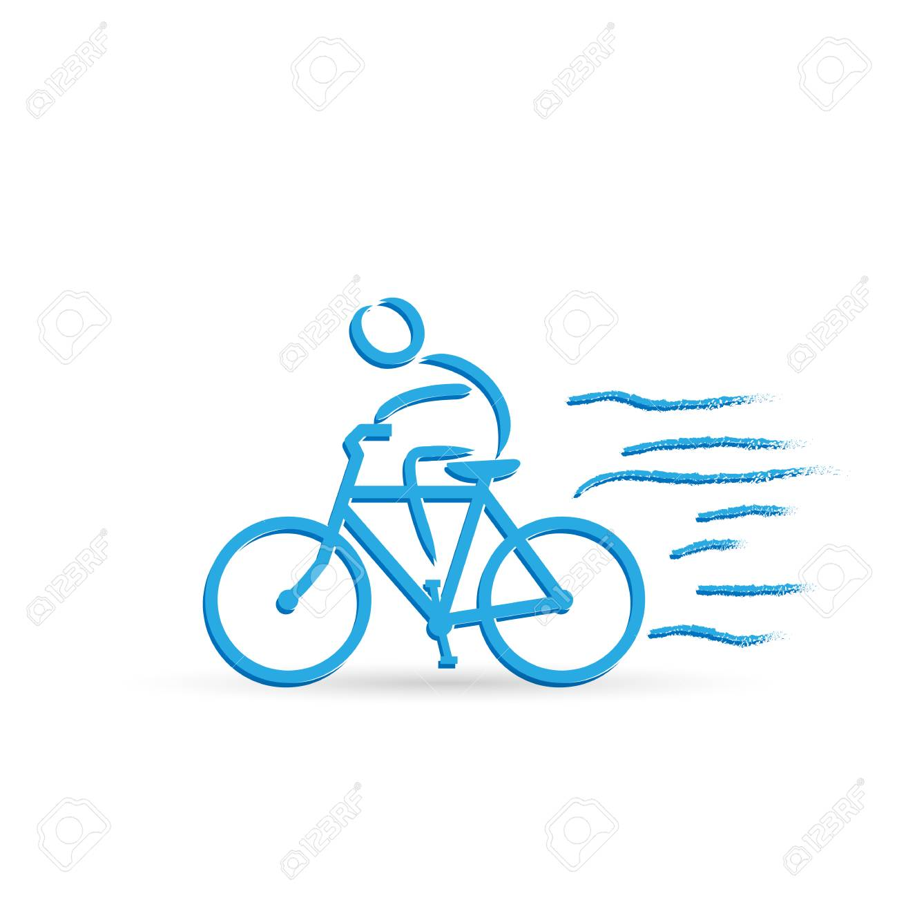 Illustration of a bicycle and rider design isolated on a white background. - 97016095