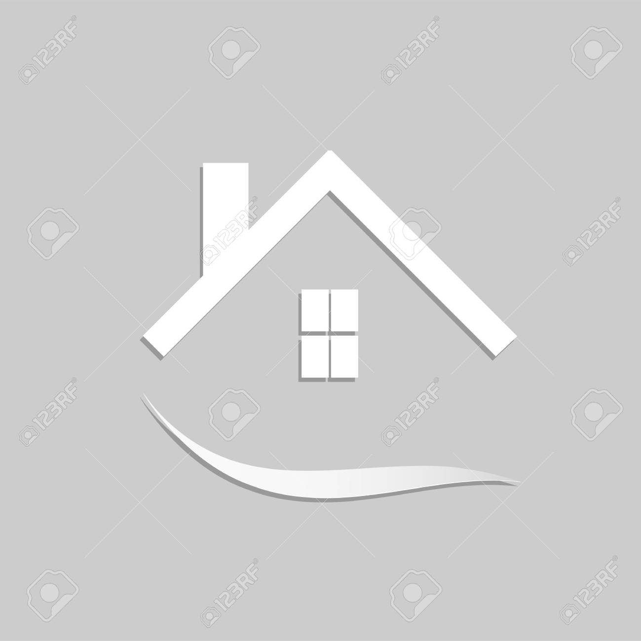 Concept image of an abstract house design isolated on a gray background. - 97016098